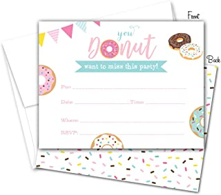 Donut Birthday Party Fill-in Invitations and Envelopes - Set of 12