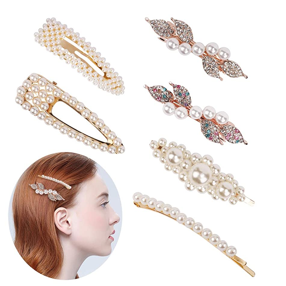 Jaciya Pearls Hair Clips for Women Girls - 6 pcs Large Bows/Clips/Ties for Birthday Valentines Day Gifts Bling Hairpins Headwear Barrette Styling Tools Accessories