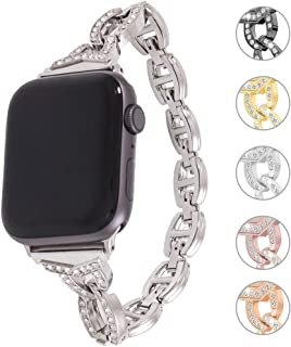 Miniseas Rhinestone Alloy Band Compatible with Apple Watch Band 38mm 40mm Wristband Women Replacement Wrist Strap Replacement Bracelet for iWatch Series 5/4/3/2/1 42mm 44mm (Sliver, 38MM-40MM)