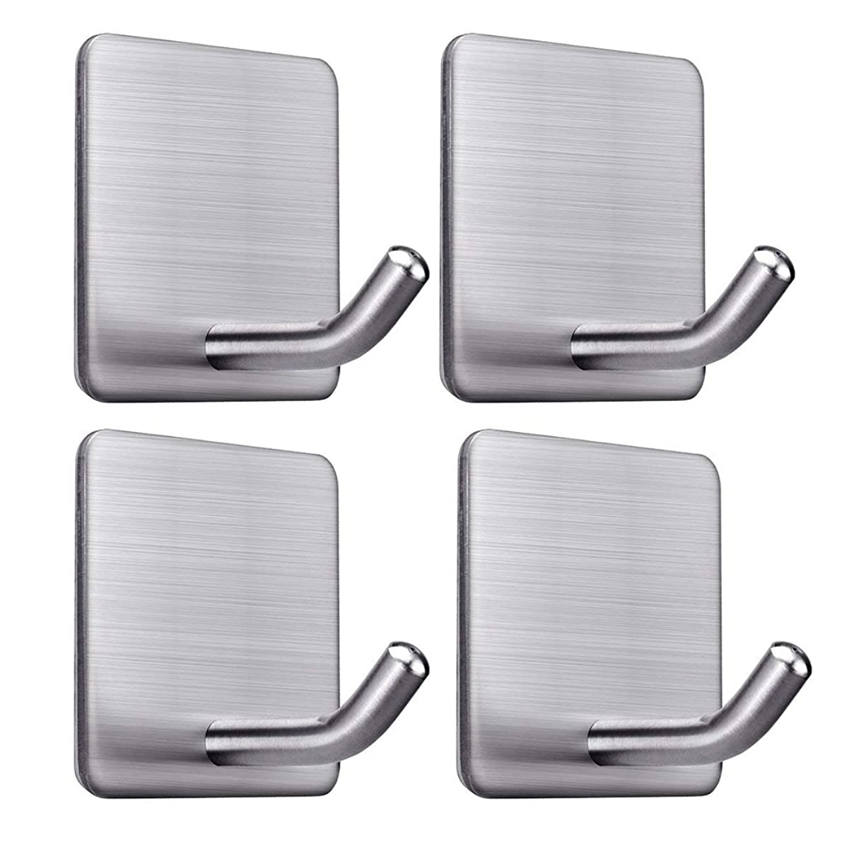 FOTYRIG Adhesive Hooks Wall Hooks Hanger Bathroom Office Hooks for Hanging Kitchen Bathroom Home Stick on Wall Stainless Steel-4 Packs