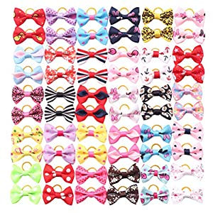 YAKA 60PCS (30 Paris) Cute Puppy Dog Small Bowknot Hair Bows with Rubber Bands Handmade Hair Accessories Bow Pet Grooming Products (60 Pcs,Cute Patterns) (Rubber Bands Style 4)