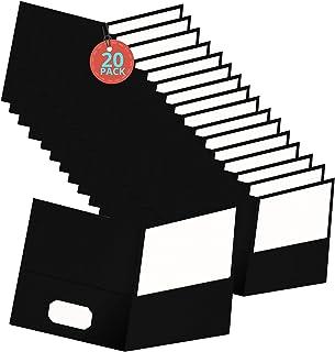 1InTheOffice Black Folders, 2 Pocket Folder, Black, Professional Folder with Pockets, 20/Pack