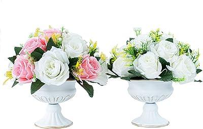 LANLONG 2 unidades de jarrones de flores de metal para el hogar, centros de mesa de boda, jarrones de decoración del hogar, jarrones de mesa retro de lujo para aniversarios, cumpleaños, bodas, hoteles, centros comerciales (blanco, forma de tazón)