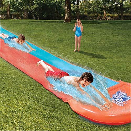 AJH Inflatable Racer Water Slide Double Surf Rider N Slide Blast Through Splash Pool Kids Park Backyard Play Fun Outdoor Splash Slip