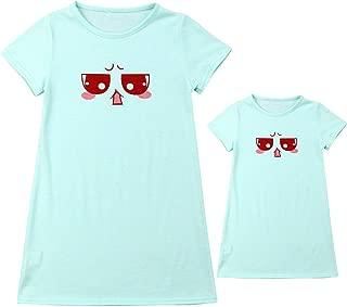 Mommy and Me Matching Girls Nightgown Sleep Dress Short Sleeve Cartoon Print Sleepwear Shirt Pajamas Family Nightwear