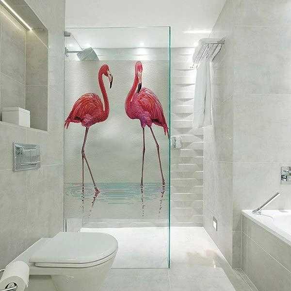 RWNFA Anti UV Window Sticker Glass Sticker Two Hand Drawn Flamingos In Pink Colors On Seaside Tropical Wildlife Artwork Customizable Size Suitable For Bathroom Door Glass Etc Orange Lavander