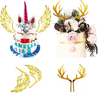 Deer Antlers Cake Topper 1 Set and Unicorn Wings Cupcake Topper for baby Shower Boy or Girl Birthday Party Decorations