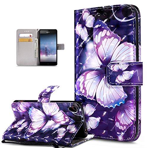 Sony Xperia Z3caso, Sony Xperia Z3cubierta, ikasus 3d Colorful Painted diseño de mariposas Premium sintética funda de piel tipo Fold Funda tipo cartera funda de cierre magnético estilo libro