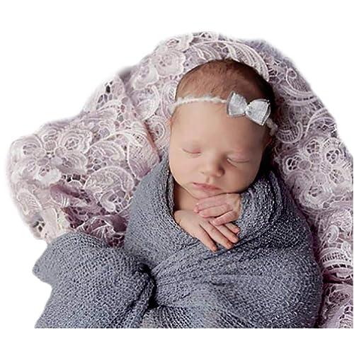 """Newborn Photography Props Newborn Baby Stretch Long Ripple Wrap Yarn Cloth Blanket by Bassion, Grey, 16"""" x 60"""""""