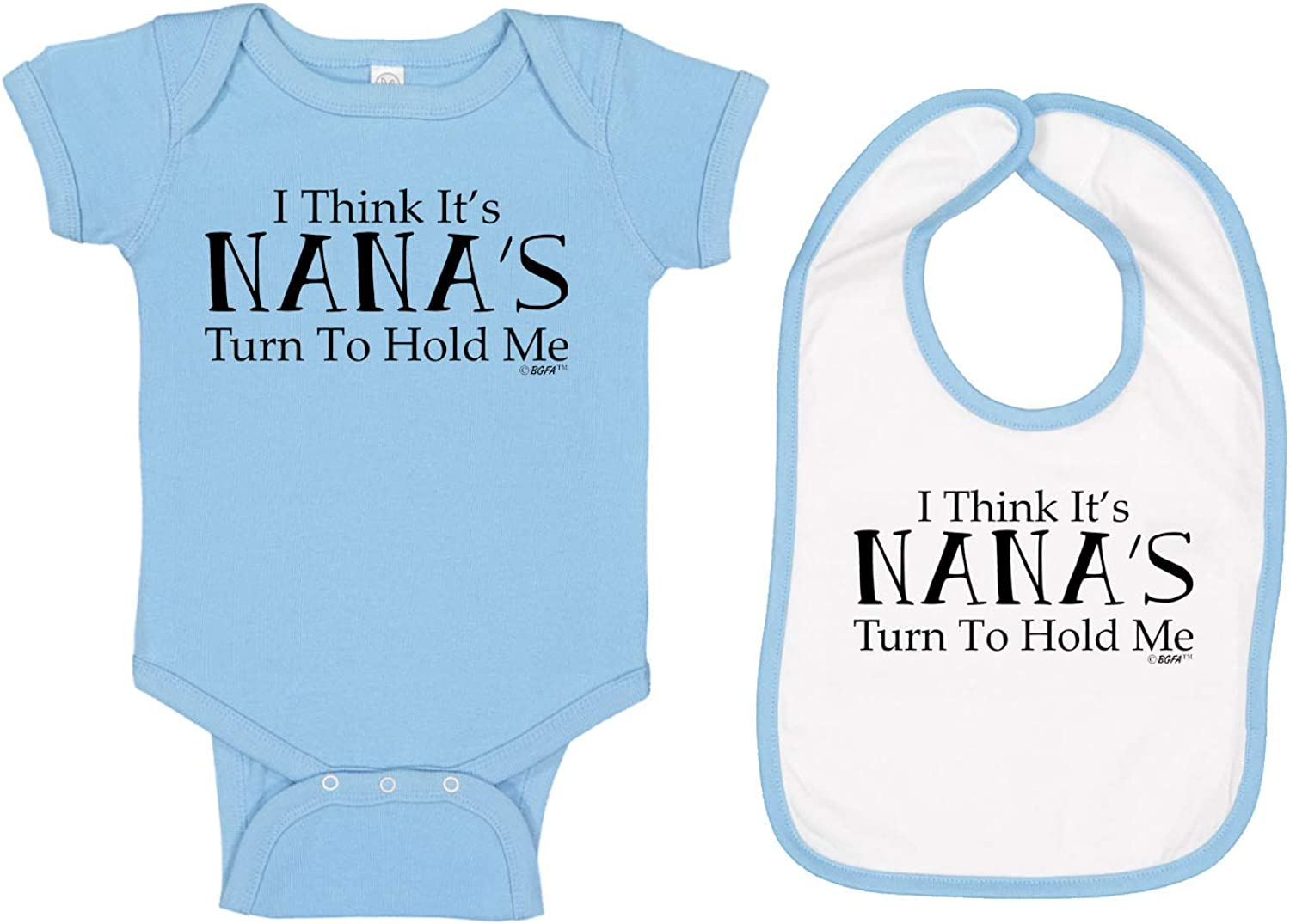 Baby Gifts For All I Think Its Nanas Turn to Hold Me Nana Baby Bodysuit Bib Bundle