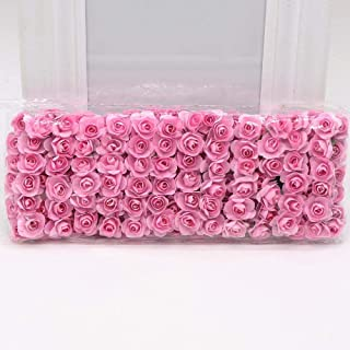 Kubert Artificial Flowers 144 Mini Cute Pink Paper Handmade for Wedding Decoration DIY Gift Wreath Scrapbooking Crafts Flo...
