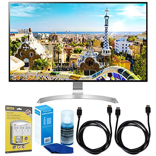LG (32UD99-W 32' Class 4K UHD IPS LED Monitor with HDR10 w/Accessories Bundle Includes, SurgePro 6-Outlet Surge Adapter with Night Light, 2X 6ft. HDMI Cable & Screen Cleaner for LED TVs