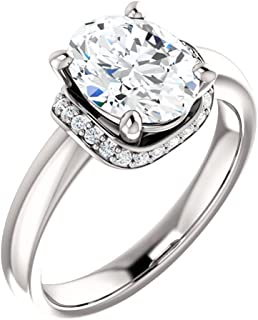 Hidden Halo Oval Diamond Engagement Ring