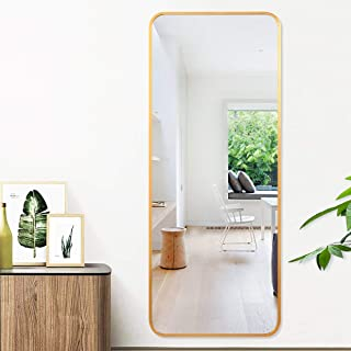 """PexFix Full Length Mirror, 48"""" x 18"""" Wall Mounted Mirror Luxurious Golden Aluminum Alloy Frame Stylish Round Corner Design Floor Mirror Rectangle Dressing Mirror Decoration for Home - Gold"""
