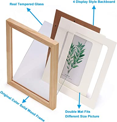 ENGLANT 2 Pack 8x10 Picture Frame Wood Photo Frame for Pictures 5x7 with Mat or 8x10 Without Mat Natural Color