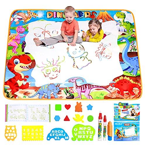 ALLCELE Aqua Doodle Matte, Groß Dinosaurier Wasser Doodle Matte 100 X 70cm Maltafel Kinder ab 2 Jahre, Jungen Madchen Kinder Geschenke für Spielzeug ab 1 Jahr