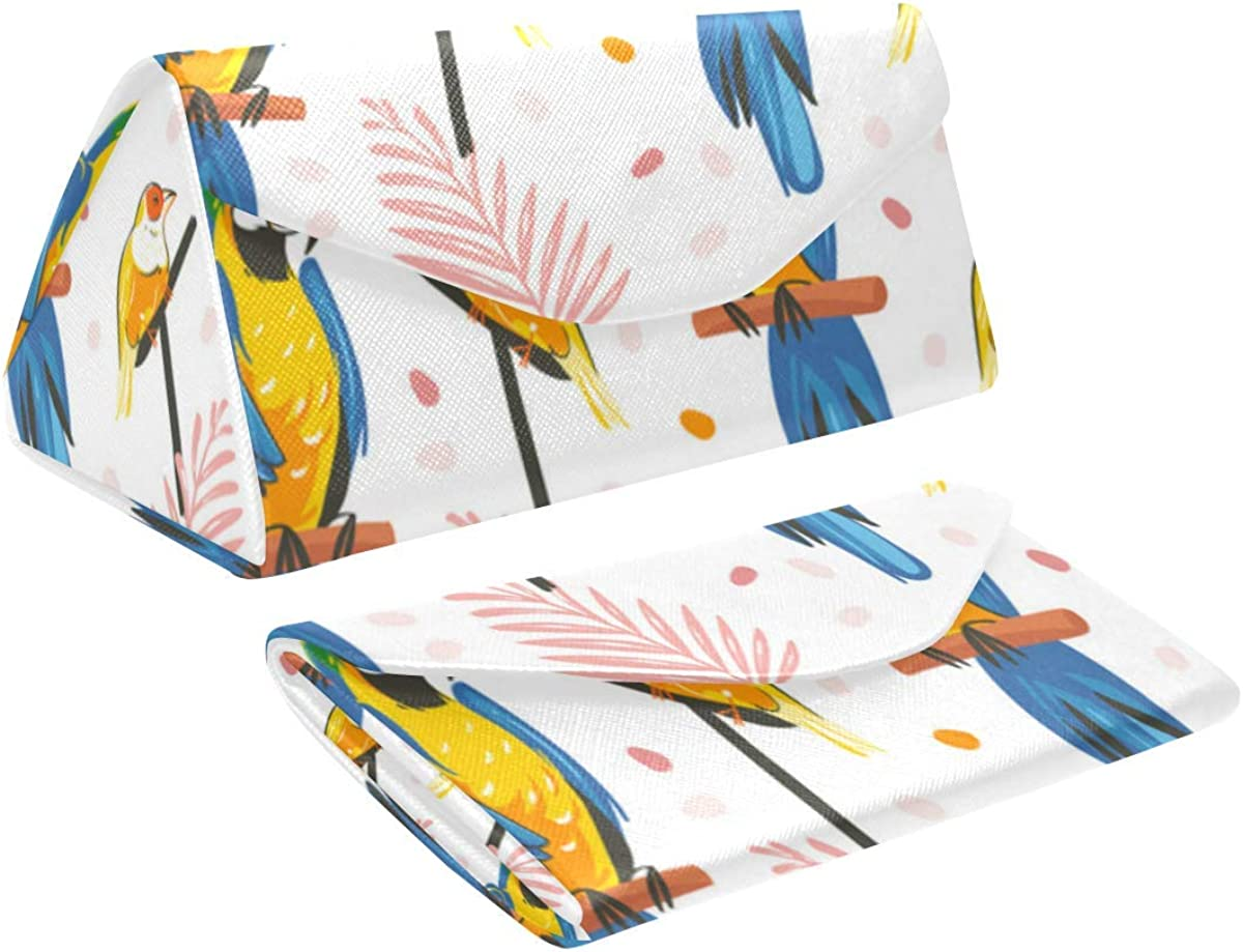 Glasses Case Parrot Macaw Birds Eyeglass Case Leather Magnetic Folding Hard Case Sunglasses Eyewear Protective Case