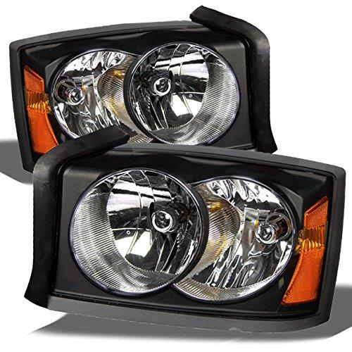 For Dodge Dakota OE Replacement Black Bezel Headlights Driver/Passenger Head Lamps Pair New
