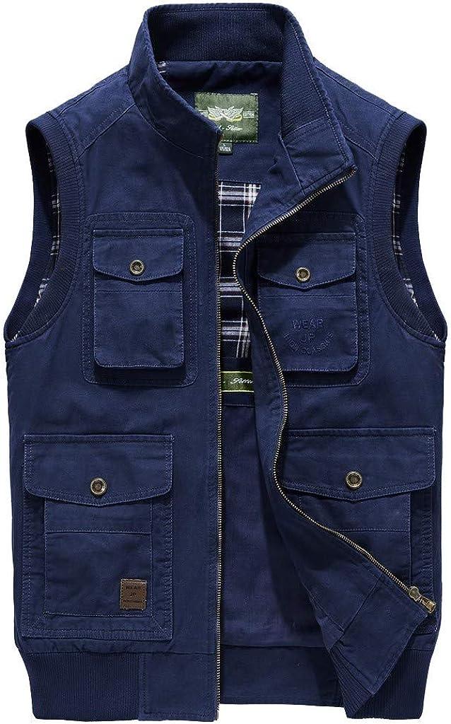 Men's Denim Vest Casual Cowboy Jacket in Shoulder Blouse Sleeveless Slim Fit Jacket