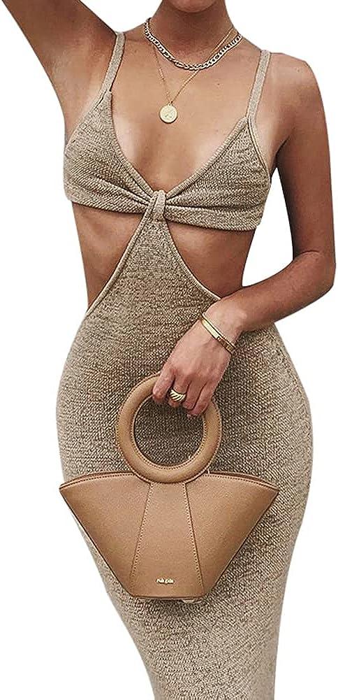 Antopmen Women Spaghetti Straps Knitted Maxi Dresses Elegant Sexy Party Cut Out Backless Bodycon Slim Dress