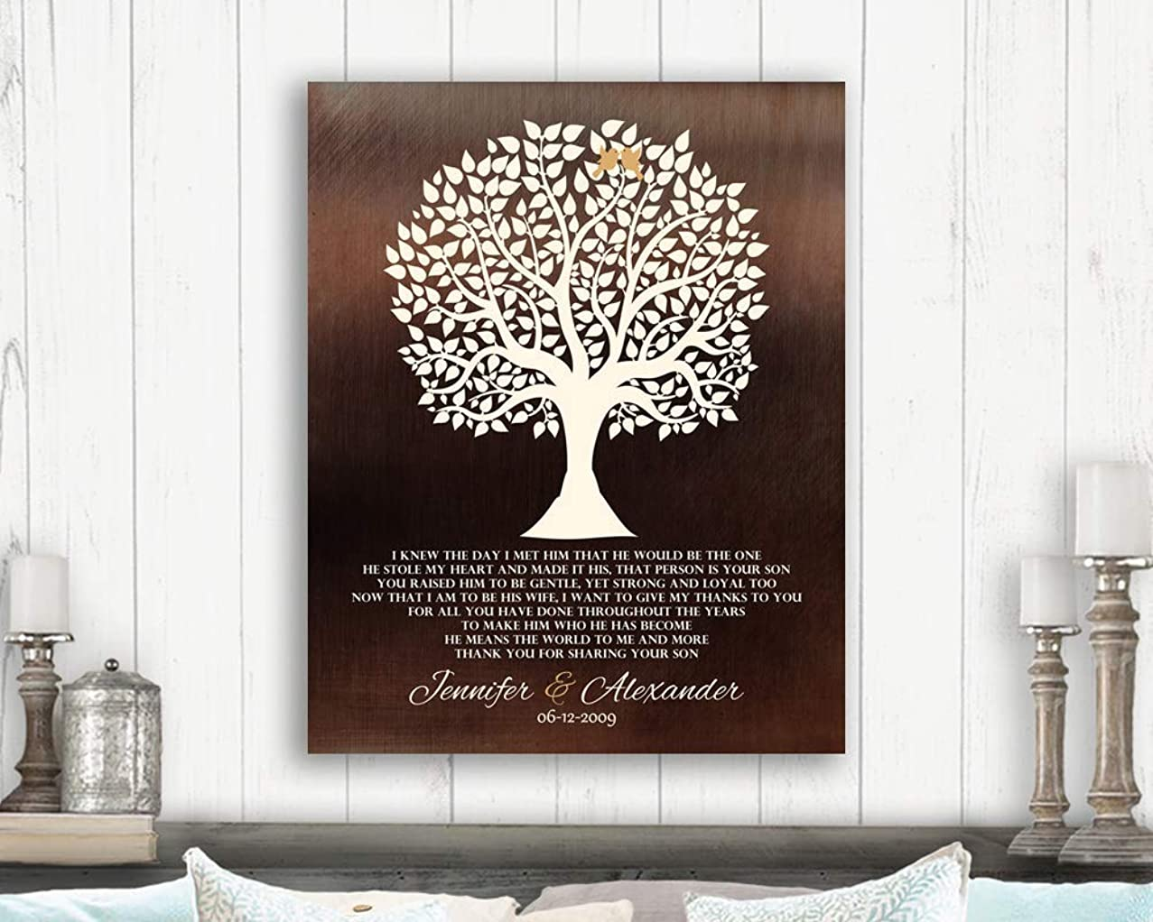 Mother of Groom Gift For Grooms Parents From Bride Faux Dark Bronze I Knew The Day I Met Him Poem Custom Art Print 1419 Paper Print