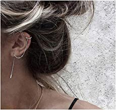 SLUYNZ 925 Sterling Silver Cuff Chain Earrings Wrap Tassel Earrings for Women Crawler Earrings