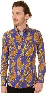 Run & Fly Mens 70's Hendrix Purple Haze Psychedelic Paisley Printed Shirt