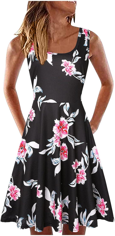 TAYBAGH Dresses for Women, Womens Casual Summer Sunflower Print Sleeveless Beach Mini Dress Loose U-Neck Short Sundress