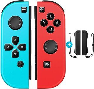 OIVO Joy-Con (L) ブルー/ (R) レッド Joy-Conハンドル Nintendo Switch対応 ジョイコンハンドル ストラップ付き ジャイロ機能 ワイヤレス接続 ブルートゥース接続
