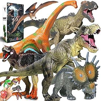 Jumbo Dinosaur Toys Set,6 PCS Dinosaur Figures+5 PCS Dinosaur Finger Puppets,Realistic Large Dinosaur Model -for Kids Boys,Girls Party Gifts-Birthday Favors
