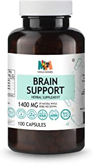 Brain Support 100 Vegan Capsules, 1400MG (Ginkgo Biloba, Panax Ginseng, Bacopa Monnieri, Ashwagandha)