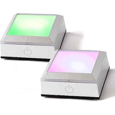 Across(アクロース) ハーバリウム ディスプレイ ライト LED コースター フィギュア 光る 照明 レインボー スタンド 台座 ライトアップ 電池式 タッチスイッチ式 コンセント両用 2個セット