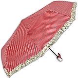 Rockabilly automatik Regenschirm mit Polka Dots und Rüschen (weinrot)