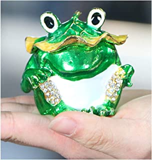 YU FENG Animal Trinket Boxes Hinged Ring Holder,Bejeweled Jeweled Collectible Jewelry Trinket Box (Frog 1)