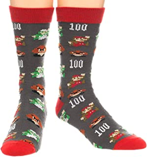 Nintendo Super Mario All Over Character 100 Score Print Crew Socks