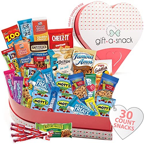 Heart Snack Box Variety Pack Care Package (30 Count) Graduation 2021 Prime Gift Basket - College Student Crave Food Arrangement Candy Chips Cookies - Birthday Treat for Women Men Adult Kid Teens