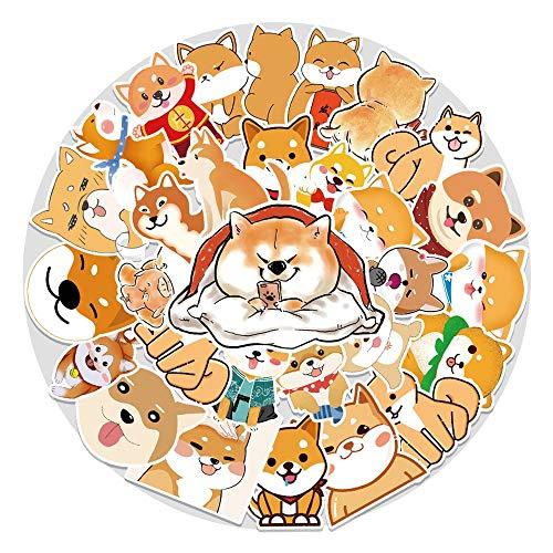 XIAMU Kawaii Pegatinas Lindas Encantadoras Pegatinas de Perro Shiba Inu Akita DIY Diario álbum de Recortes Pegatina de Dibujos Animados para Equipaje Funda de teléfono móvil 50 Uds