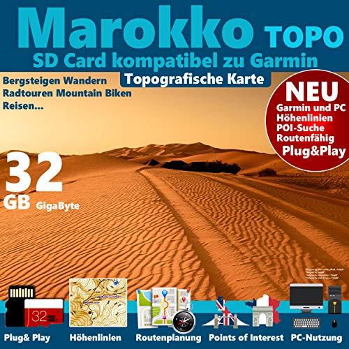 ★ Marokko Morocco Topo GPS Karte GB microSD Card für Garmin Navi, PC & MAC Garmin Navigationsgeräte Navigationssoftware ★ ORIGINAL von STILTEC ©