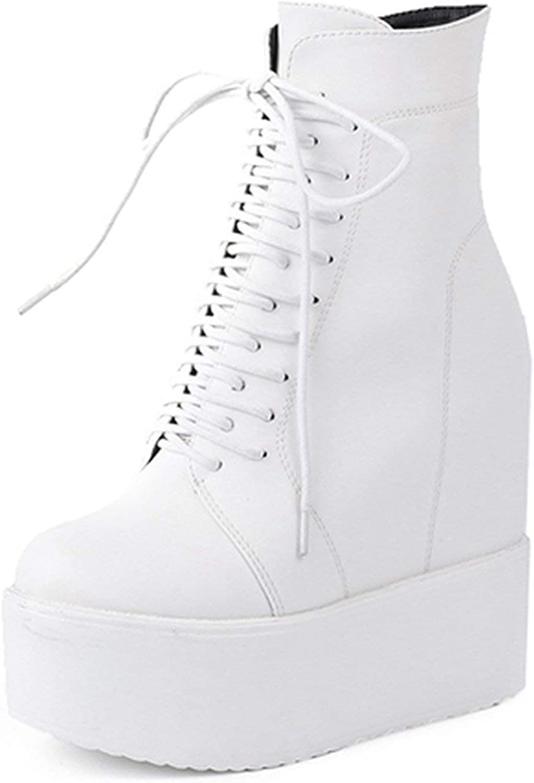 Summer-lavender Wedges Ankle Boots White Black Rubber Sole Platform Boots Women Platform Heels Heel 13 cm