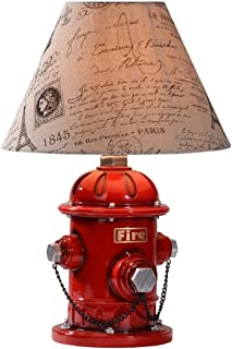 Retro E27 Desk Lamp Bedside Lamp Creative Fire Hydrant Modeling Resin Table Lamp For Bedroom Study Reading With Button Switch