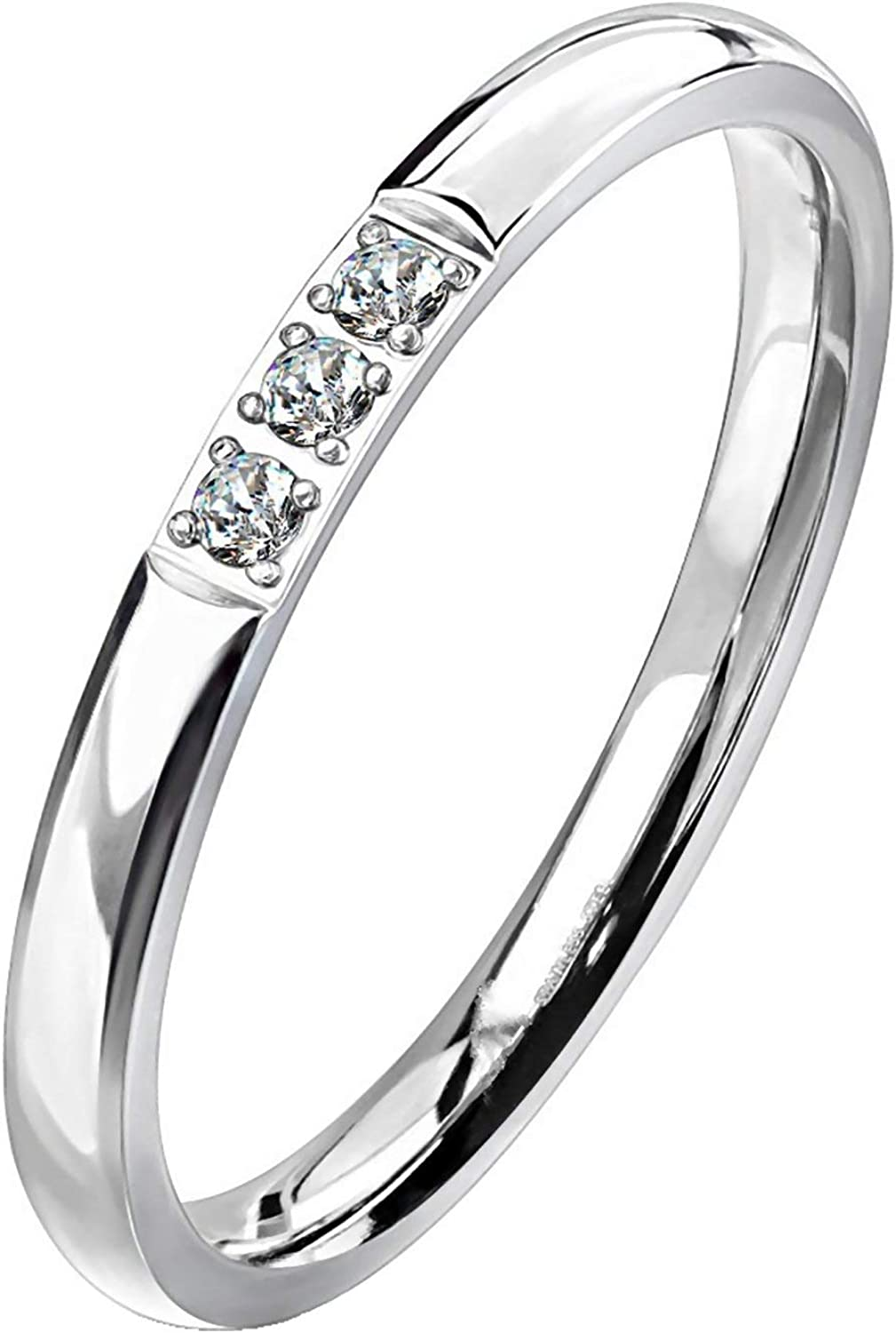 Fantasy Forge Jewelry Minimalist Three Stone Anniversary Ring Womens Stainless Steel Cubic Zirconia Promise Band Sizes 5-9 2mm