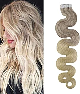 Moresoo Tape in Hair Extensions 24 inches Balayage Tape in Hair Extensions #18 Fading to #22 and #60 Blonde Glue on Hair Extensions 50G 20PCS Tape in Wavy Hair Extensions
