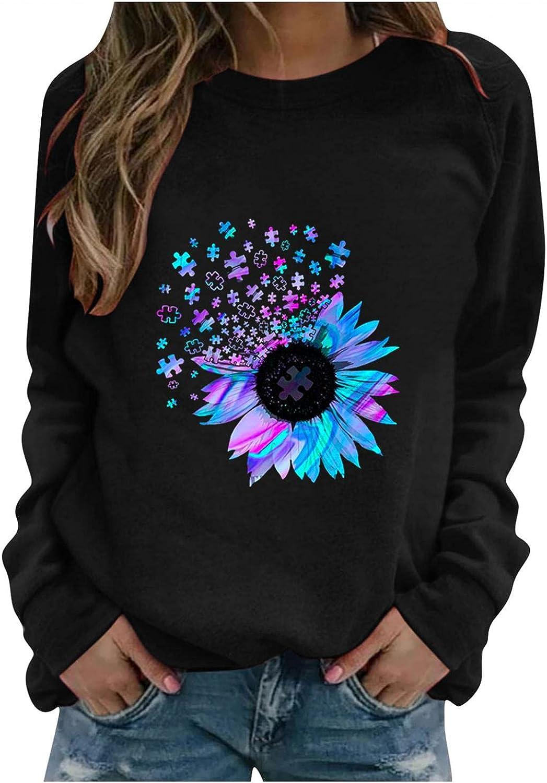 Oiumov Sweatshirts for Women, Women's Teen Girls Daisy Print Long Sleeve Tops Casual Loose Pullover Tops Sweater Shirts