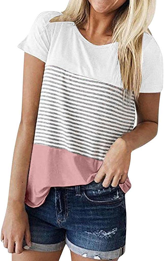 xoxing Shirts for Women Casual Summer Plus Size Triple Color Block Stripe T-Shirt Crew Short Sleeve Loose Tunics Tops