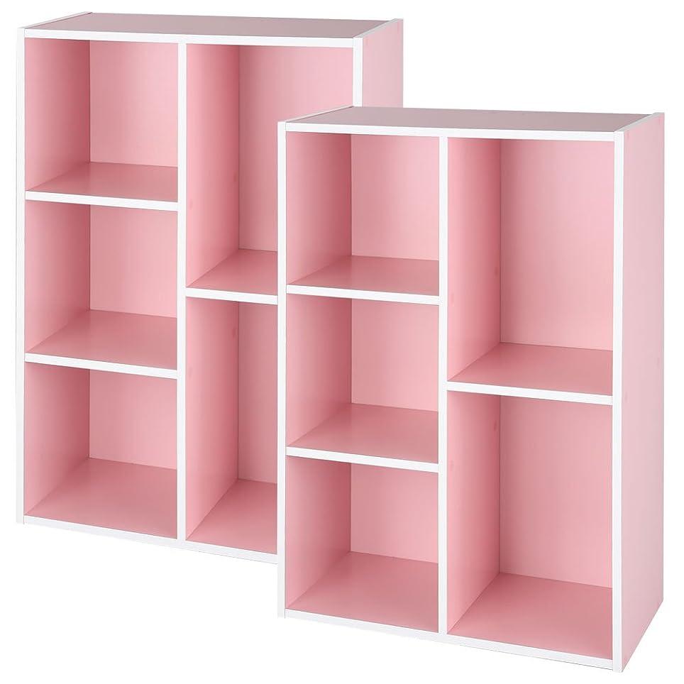 またね視線準備したぼん家具 2個セット 幅60×高さ89cm 木製 カラーボックス 本棚 ラック 収納 ピンク