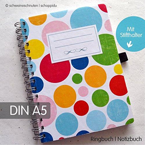 Ringbuch Notizbuch DIN A5 Bunte Punkte Vintage