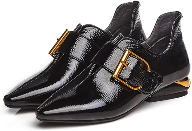 LOHU Damen Damen Spitz Lederschuhe Frühling Herbst Low-Heels Single schuhe Gürtelschnalle Lackleder British Style Schuhe Pumps