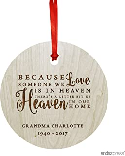 Andaz Press Personalized Laser Engraved Wood Christmas Ornament, Because Someone We Love is in Heaven Memorial Christmas 2019, Round, 1-Pack, Custom Name