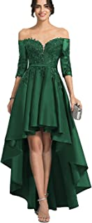 Lover Kiss Women's High Low Off Shoulder Lace Prom Dress W/ Half Sleeves Long Evening Gown