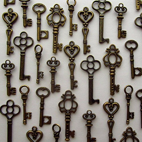 Salome Idea Skeleton Key Charm Set in Antique Bronze (48 Charms) 6 Different Styles - Vintage Style Key Charms (Bronze Color)